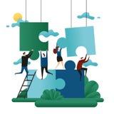Trabalhos de equipa da cooperativa do escritório Enigmas da construção dos povos Ilustração do vetor do conceito do negócio da so ilustração stock