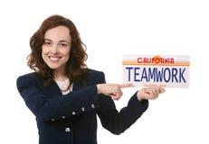 Trabalhos de equipa da mulher de negócio Foto de Stock Royalty Free