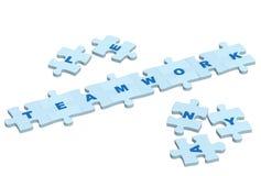Trabalhos de equipa da palavra das fatias de um enigma imagens de stock