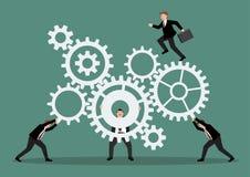 Trabalhos de equipa do negócio com sistema do mecanismo Fotografia de Stock