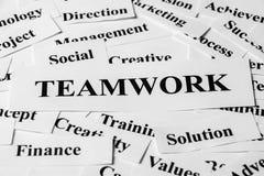 Trabalhos de equipa e outras palavras relacionadas Fotografia de Stock Royalty Free