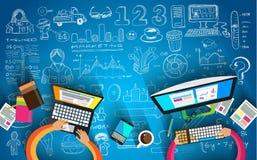 Trabalhos de equipa e sessão de reflexão de Infographic com estilo liso Fotografia de Stock Royalty Free