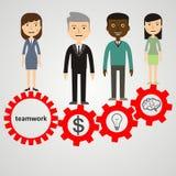 Trabalhos de equipa eficazes modernos do processo do estilo liso, infograp da mão de obra Imagem de Stock Royalty Free