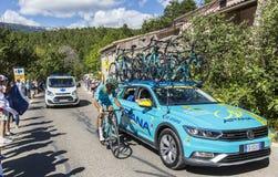 Trabalhos de equipa em Mont Ventoux - Tour de France 2016 de Astana Foto de Stock
