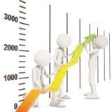 Trabalhos de equipa financeiros da seta do gráfico da melhoria ilustração do vetor
