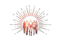 Trabalhos de equipa, HCI, automatização, tecnologia, conceito de uma comunicação Vecto isolado tirado mão ilustração stock
