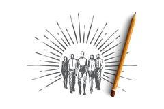 Trabalhos de equipa, HCI, automatização, tecnologia, conceito de uma comunicação Vecto isolado tirado mão ilustração do vetor