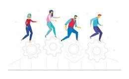 Trabalhos de equipa - ilustração colorida do estilo liso do projeto Foto de Stock