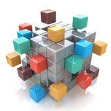 Trabalhos de equipa, Internet e uma comunicação abstratos criativos do negócio Imagens de Stock Royalty Free