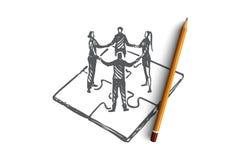 Trabalhos de equipa, mercado, estratégia, negócio, conceito de uma comunicação Vetor isolado tirado mão ilustração stock