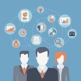 Trabalhos de equipa modernos do conceito dos ícones da Web do estilo liso, pro, conceituando Imagem de Stock