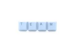 Trabalhos de equipa no Internet Foto de Stock