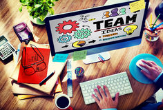 Trabalhos de equipa Team Collaboration Connection Togetherness Unity Concep Fotografia de Stock