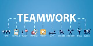 Trabalhos de equipa Team Hard Work Concept do negócio Ilustração do vetor Imagem de Stock Royalty Free