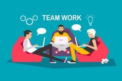 Trabalhos de equipe criativos modernos brainstorm trabalho Ilustração lisa do vetor ilustração stock