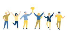 Trabalhos de equipe felizes do grupo de pessoas com copo de campeão Homem e vitória de comemoração fêmea e júbilo junto Conceito  ilustração stock