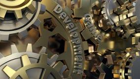 Trabalhos do colaborador do jogo em um projeto nivelado rodas de engrenagens do motor 3d, opinião do close up ilustração royalty free