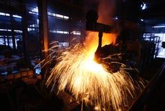 Trabalhos do ferro da fábrica de aço fotografia de stock royalty free