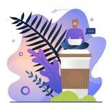 Trabalhos do Freelancer com ilustração do vetor do café ilustração royalty free
