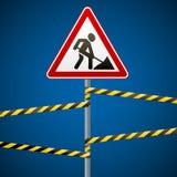 Trabalhos do reparo do sinal e fitas da barreira Vetor ilustração stock