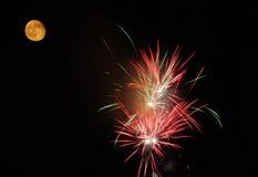 Trabalhos e lua do incêndio Imagem de Stock Royalty Free
