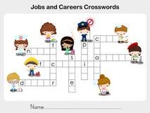 Trabalhos e palavras cruzadas das carreiras - folha para a educação Foto de Stock Royalty Free