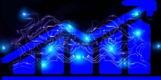Trabalhos em rede da corrente de bloco Diagrama de troca do bitcoin de Cryptocurrency Rede financeira futurista do cyber global D foto de stock royalty free