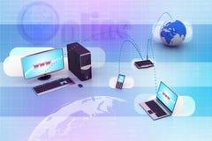 Trabalhos em rede do computador com globo Fotografia de Stock