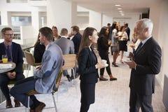Trabalhos em rede dos delegados durante a ruptura de café na conferência foto de stock
