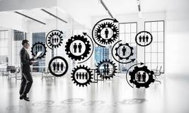 Trabalhos em rede e conceito social de uma comunicação como o ponto eficaz f Imagens de Stock Royalty Free