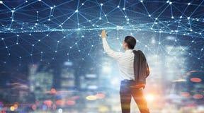 Trabalhos em rede e conexão do negócio Meios mistos Imagens de Stock Royalty Free
