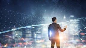Trabalhos em rede e conexão do negócio Meios mistos Foto de Stock