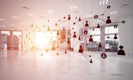 Trabalhos em rede e conexão sem fio como o conceito para o negócio moderno eficaz Imagens de Stock Royalty Free
