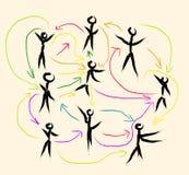 Trabalhos em rede e meios sociais skribble Fotografia de Stock