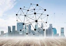 Trabalhos em rede e uma comunicação social como meios para a estratégia empresarial eficaz Imagem de Stock