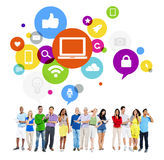 Trabalhos em rede Multi-étnicos diversos do Social dos povos Imagem de Stock