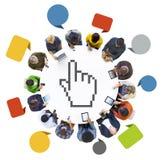 Trabalhos em rede sociais dos povos com símbolo do cursor Fotos de Stock Royalty Free