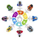 Trabalhos em rede sociais dos povos e símbolos relacionados Fotografia de Stock