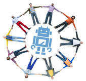 Trabalhos em rede sociais dos povos Multi-étnicos com conceitos da tecnologia fotos de stock