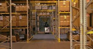 Trabalhos em um armazém, trabalho ativo em um armazém, empilhadeiras em um armazém video estoque