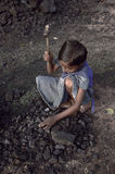 Trabalhos infanteis no campo de tijolo Fotografia de Stock Royalty Free