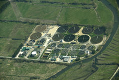 Trabalhos Waste do tratamento da água. Fotos de Stock