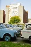 Trabant-Auto's in Berlijn worden geparkeerd dat stock foto