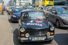 Trabant Berlin. BERLIN, GERMANY - MAY 23, 2014: Trabant car with 'I Love Berlin'. The East Germany-made Trabant was a popular family car in the Eastern block Stock Images