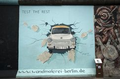 Trabant through Berlin Wall Royalty Free Stock Photo