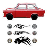 Trabant car customizer. Customize your retro red Trabant car (isolated car, rims and vinyl stickers Stock Photos