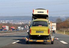 Trabant on Car Transporter, DDR Nostalgia. Trabant on Car Transporter, GDR Nostalgia stock photos