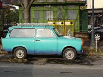 Trabant - East German car. Trabant is ex East German car, famous by clumsy design. It is not produced since fall of Berlin wall. It is quite rare now and has Stock Photo