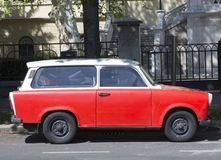 Trabant - East German car. Trabant is ex East German car, famous by clumsy design. It is not produced since fall of Berlin wall. It is quite rare now and has stock image