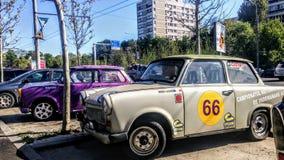 Trabant museet 'tändstift med bilen för ett tak ' arkivfoto